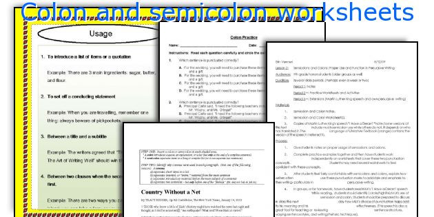 Colon Worksheet High School Colon and Semicolon Worksheets