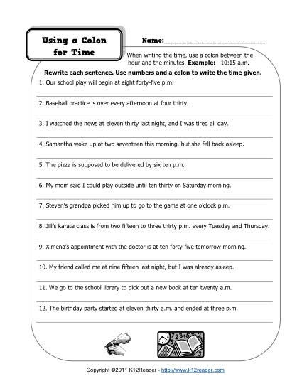 Colon Worksheet High School Colons and Time