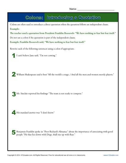 Colon Worksheet High School Colons Introducing A Quotation
