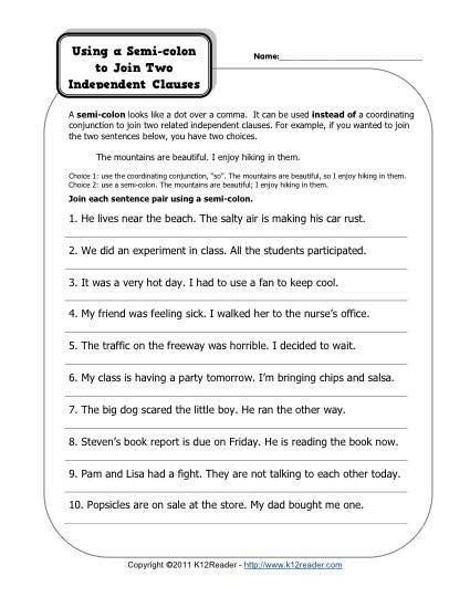 Colon Worksheet High School Semi Colons and Independent Clauses