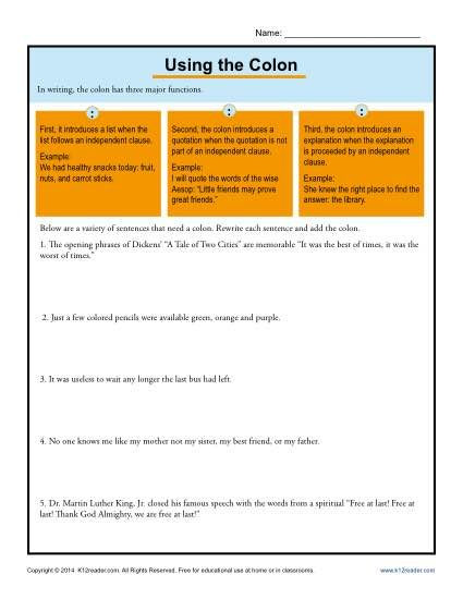 Colon Worksheet High School Using the Colon Punctuation Worksheets
