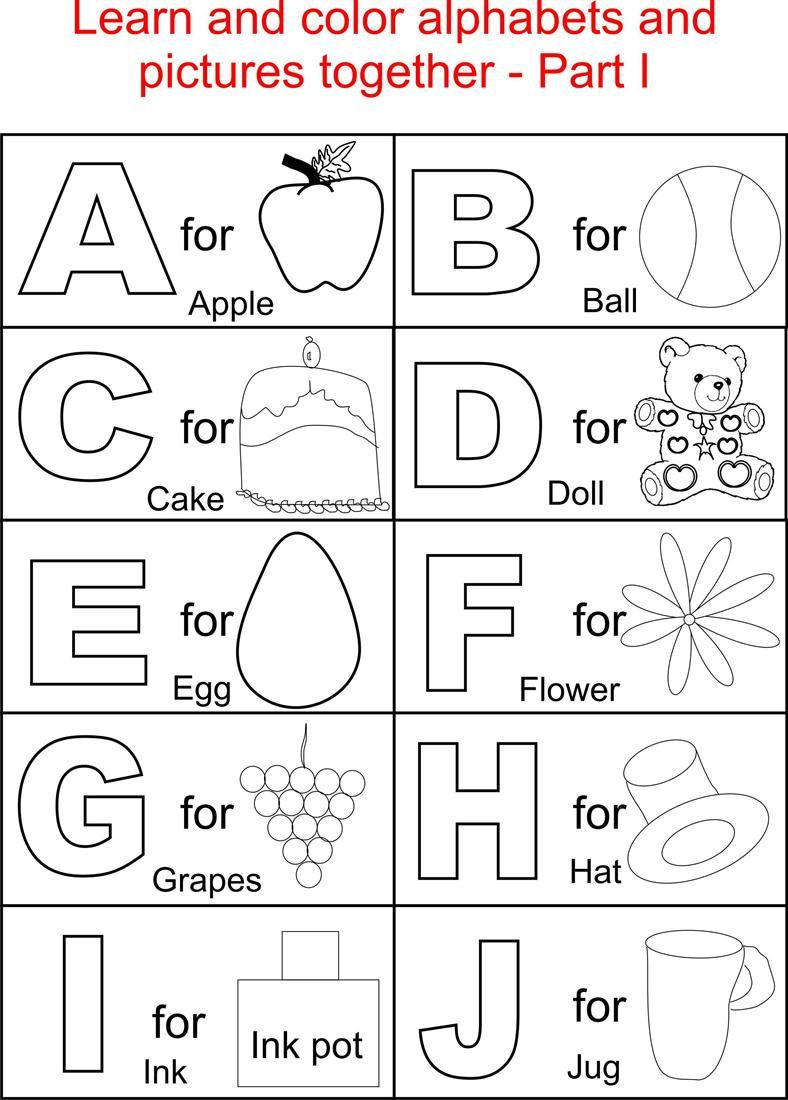 Alphabet Part I coloring printable page for kids