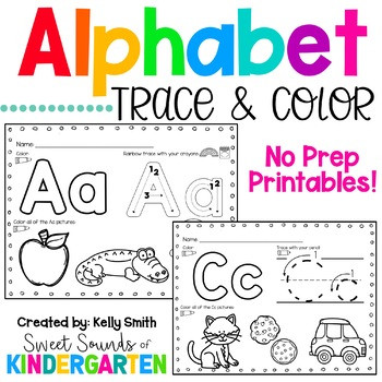 Color by Alphabet Worksheets Alphabet Trace and Color Worksheets