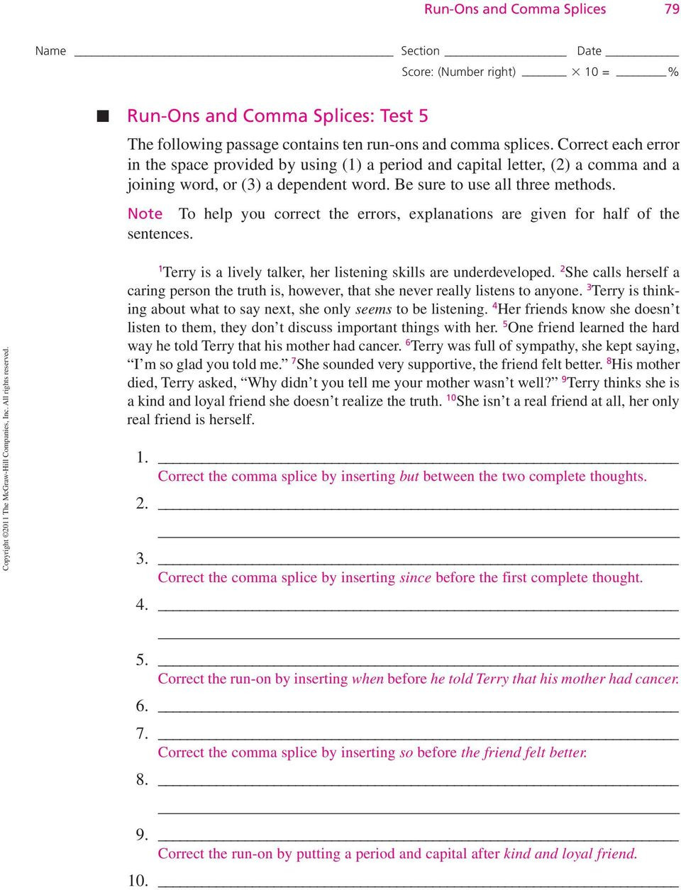 Comma Splice Worksheet High School 6 Run S and Ma Splices Pdf Free Download