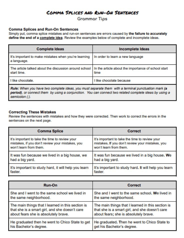 Comma Splice Worksheet High School Use This Handout to Help Your Student Review and Learn to