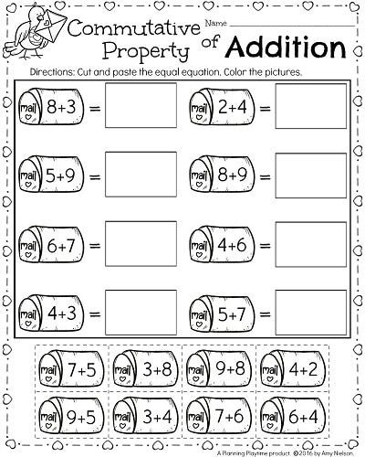 Commutative Property First Grade Worksheets 1st Grade Math and Literacy Worksheets for February