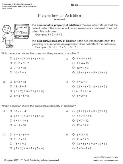 Commutative Property First Grade Worksheets Properties Of Addition Worksheets 1 and 2