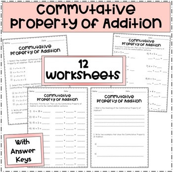 Commutative Property First Grade Worksheets the Mutative Property Of Addition
