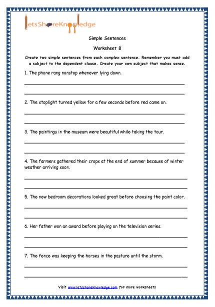 Complex Sentences Worksheet 5th Grade Grade English Resources Printable Worksheets topic Simple
