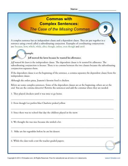 Complex Sentences Worksheet 5th Grade Mas with Plex Sentences