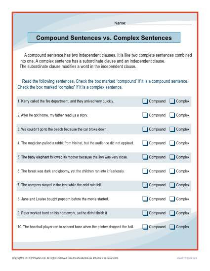Complex Sentences Worksheet 5th Grade Pound Sentences Vs Plex Sentences Worksheet