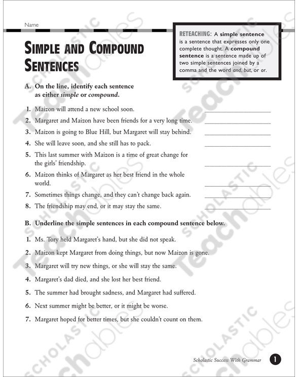 Complex Sentences Worksheet 5th Grade Simple and Pound Sentences Grades 5 6