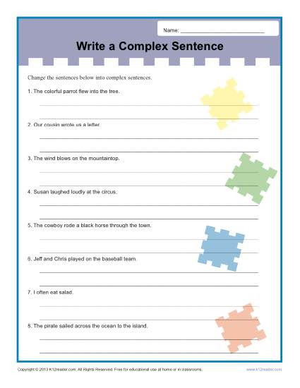 Complex Sentences Worksheet 5th Grade Write A Plex Sentence Worksheet