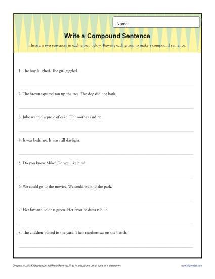 Complex Sentences Worksheet 5th Grade Write A Pund Sentence