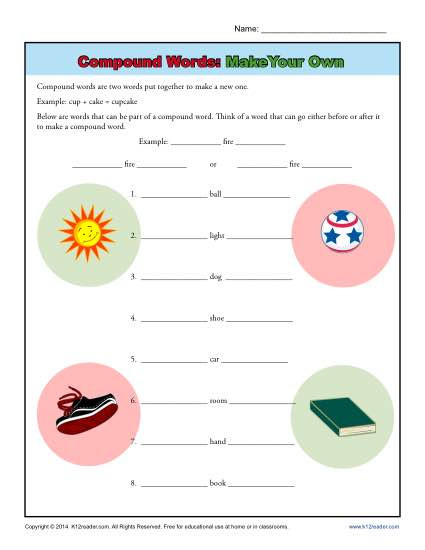 Compound Word Worksheets 1st Grade Pound Words Worksheet Activity Make Your Own
