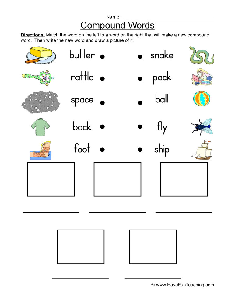 Compound Words Worksheet First Grade Connect and Draw Pound Words Worksheet