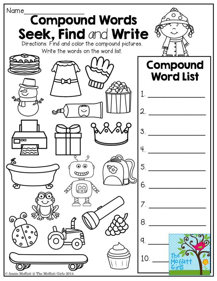 Compound Words Worksheet First Grade January No Prep Math and Literacy 1st Grade
