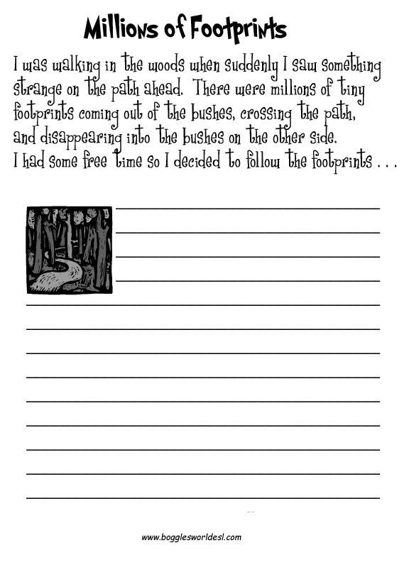 Creative Writing Worksheets High School Creative Footprints Writing Prompts