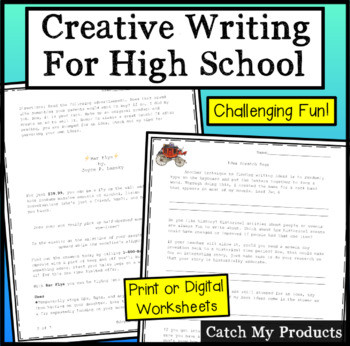 Creative Writing Worksheets High School Creative Writing High School Printable or Digital Worksheets