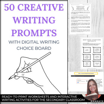 Creative Writing Worksheets High School Distance Learning 50 Creative Writing Prompts with Digital Writing Choice Board