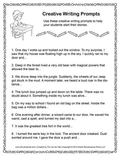Creative Writing Worksheets High School Story Starters for Kids and Blank Creative Writing Templates