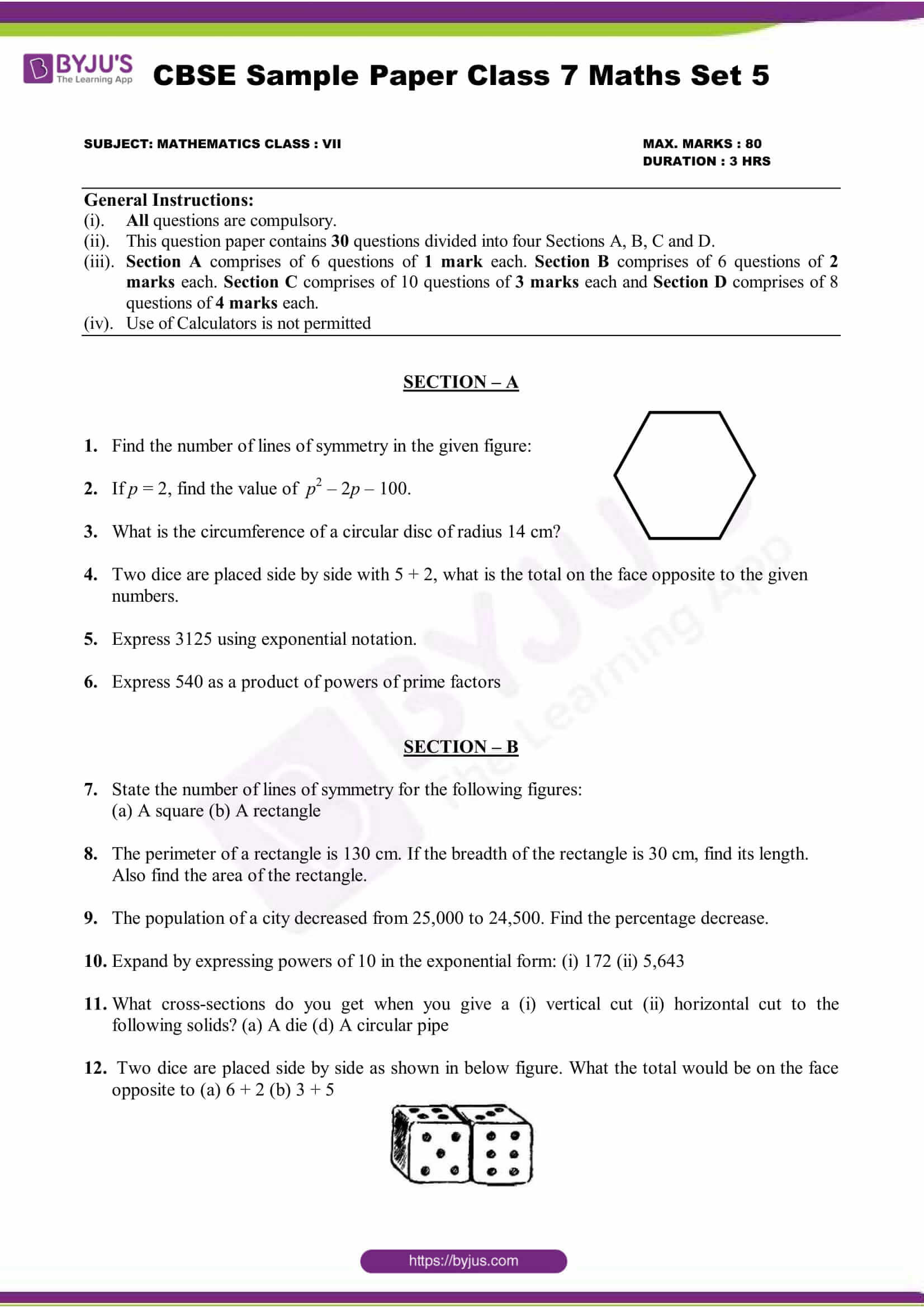 Cross Sections Worksheet 7th Grade Cbse Maths Sample Paper Set Pdf 7th Grade Worksheets Basic