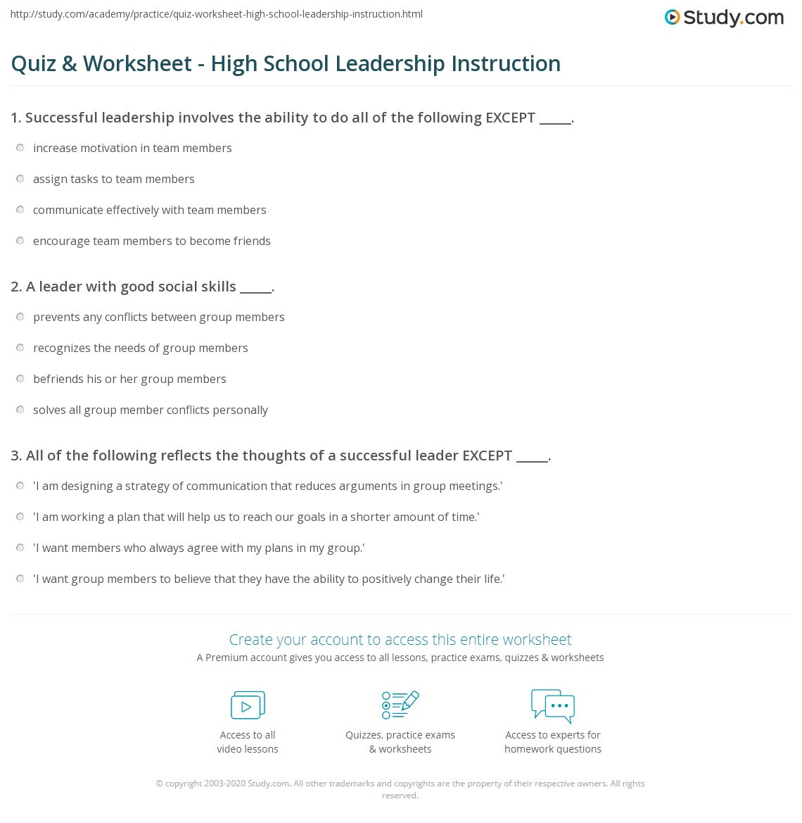Current events Worksheet High School Quiz & Worksheet High School Leadership Instruction