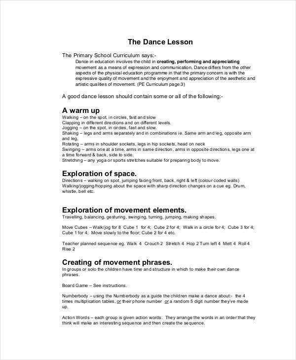 Dance Worksheets for High School 59 Lesson Plan Templates Pdf Doc Excel