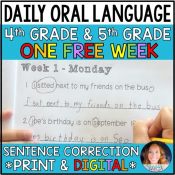 Dol 5th Grade Worksheet Daily oral Language Dol Free Week for 4th and 5th Grades