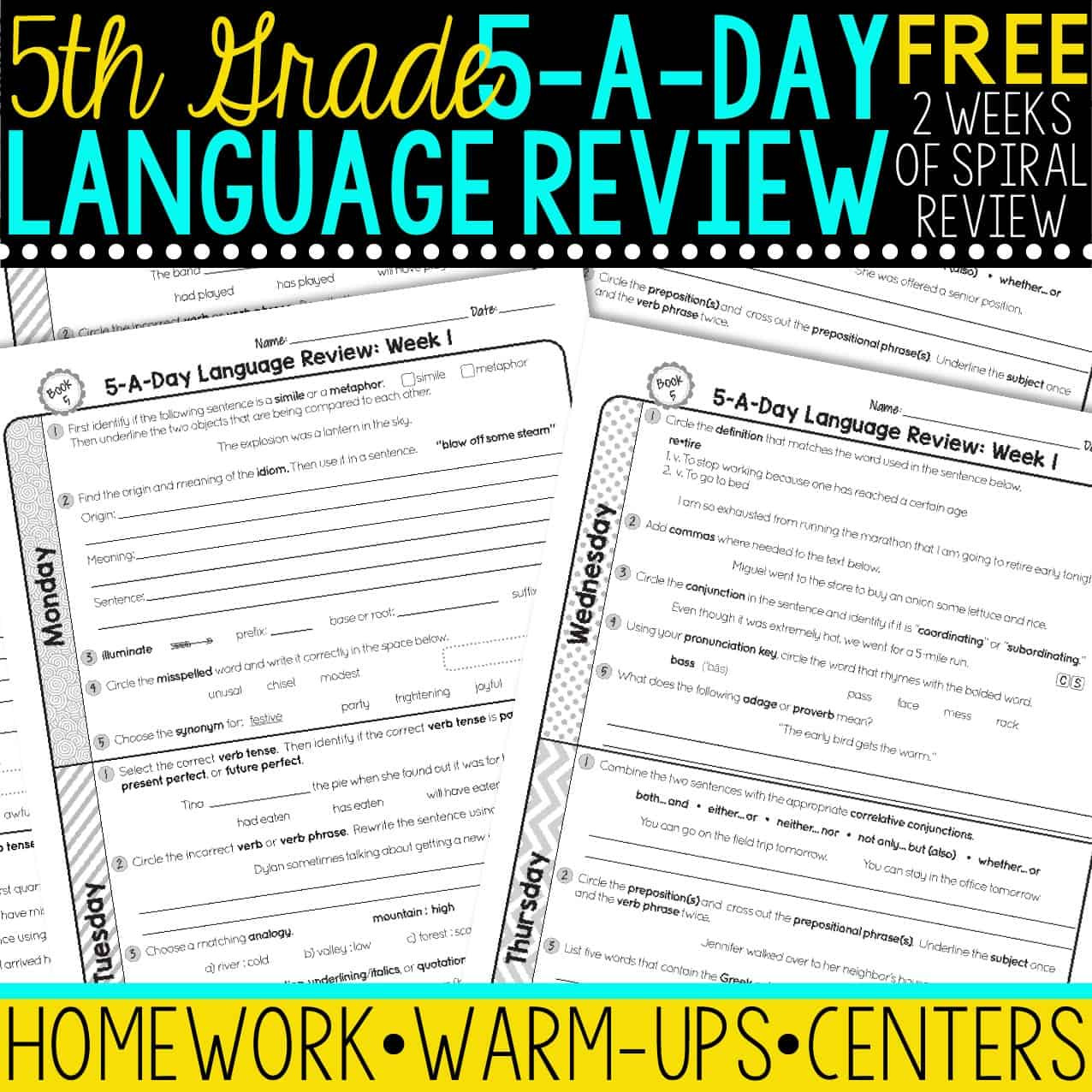 Dol 5th Grade Worksheet Free 5th Grade Daily Language Spiral Review • Teacher Thrive