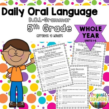 Dol 5th Grade Worksheet Wonders Daily oral Language Dol 5th Grade Bundle Pack Units 1 6