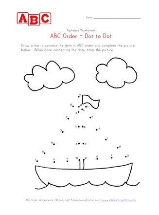 Dot to Dot Alphabet Worksheets Abc Dot to Dot Boat
