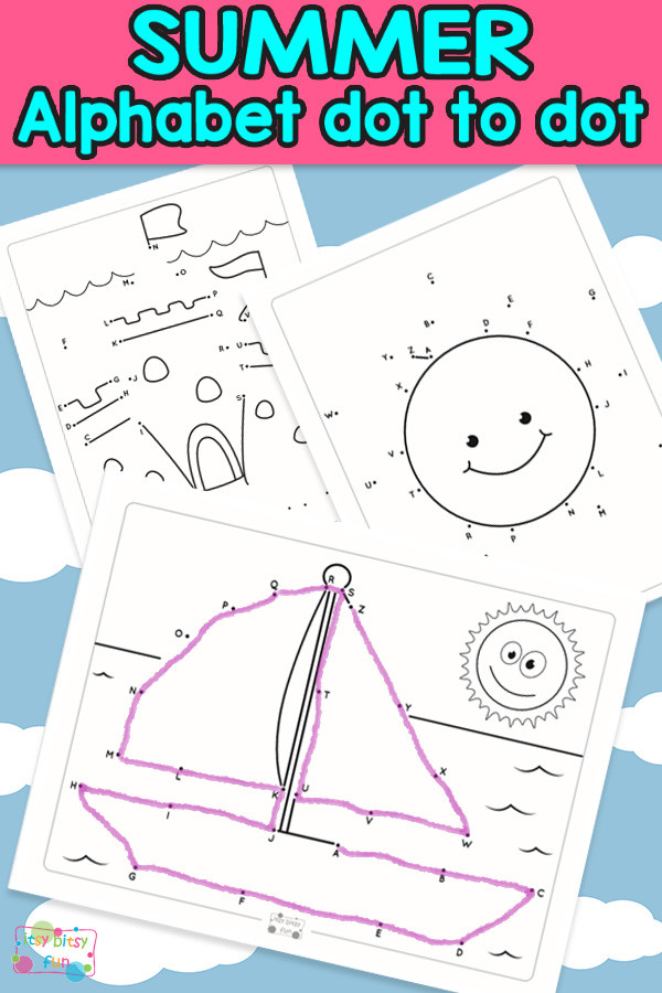 Dot to Dot Alphabet Worksheets Summer Alphabet Dot to Dot Worksheets Itsybitsyfun