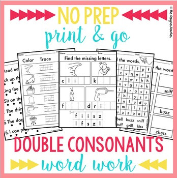 Double Consonant Worksheets 2nd Grade Double Consonant Cut and Paste Worksheets & Teaching