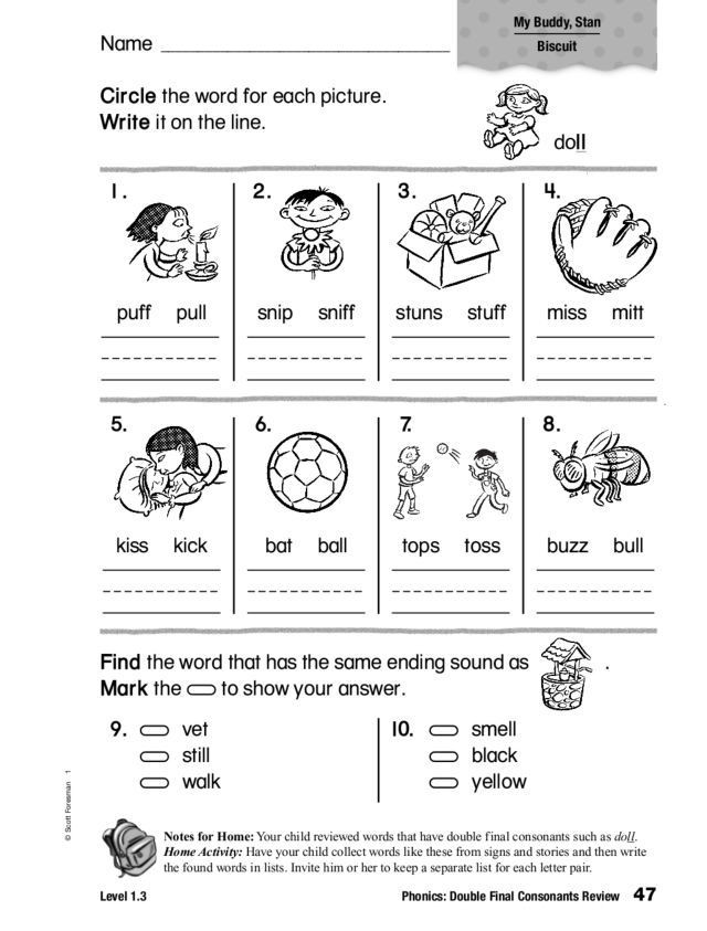 Double Consonant Worksheets 2nd Grade Phonics Double Final Consonants Review Worksheet