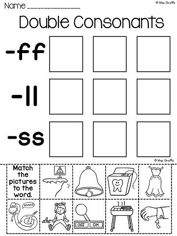 Double Consonant Worksheets 2nd Grade Pin On Tpt Language Arts Lessons