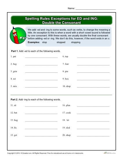 Double Consonant Worksheets 2nd Grade Spelling Rules Exceptions for Ed and Ing Double the Consonant