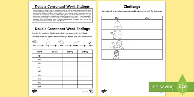 t l year 1 spelling practice double consonant word endings homework activity sheet