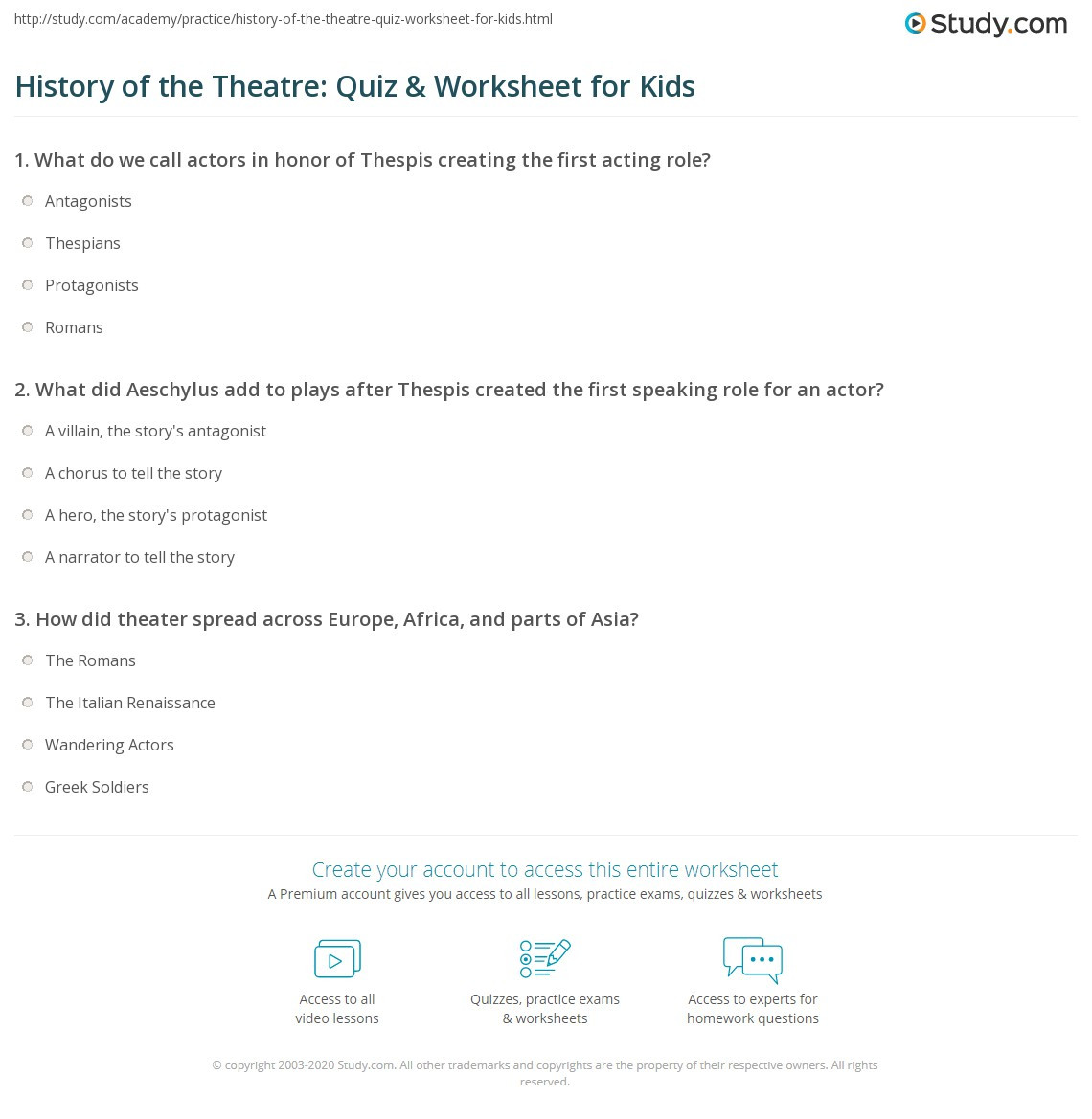 history of the theatre quiz worksheet for kids
