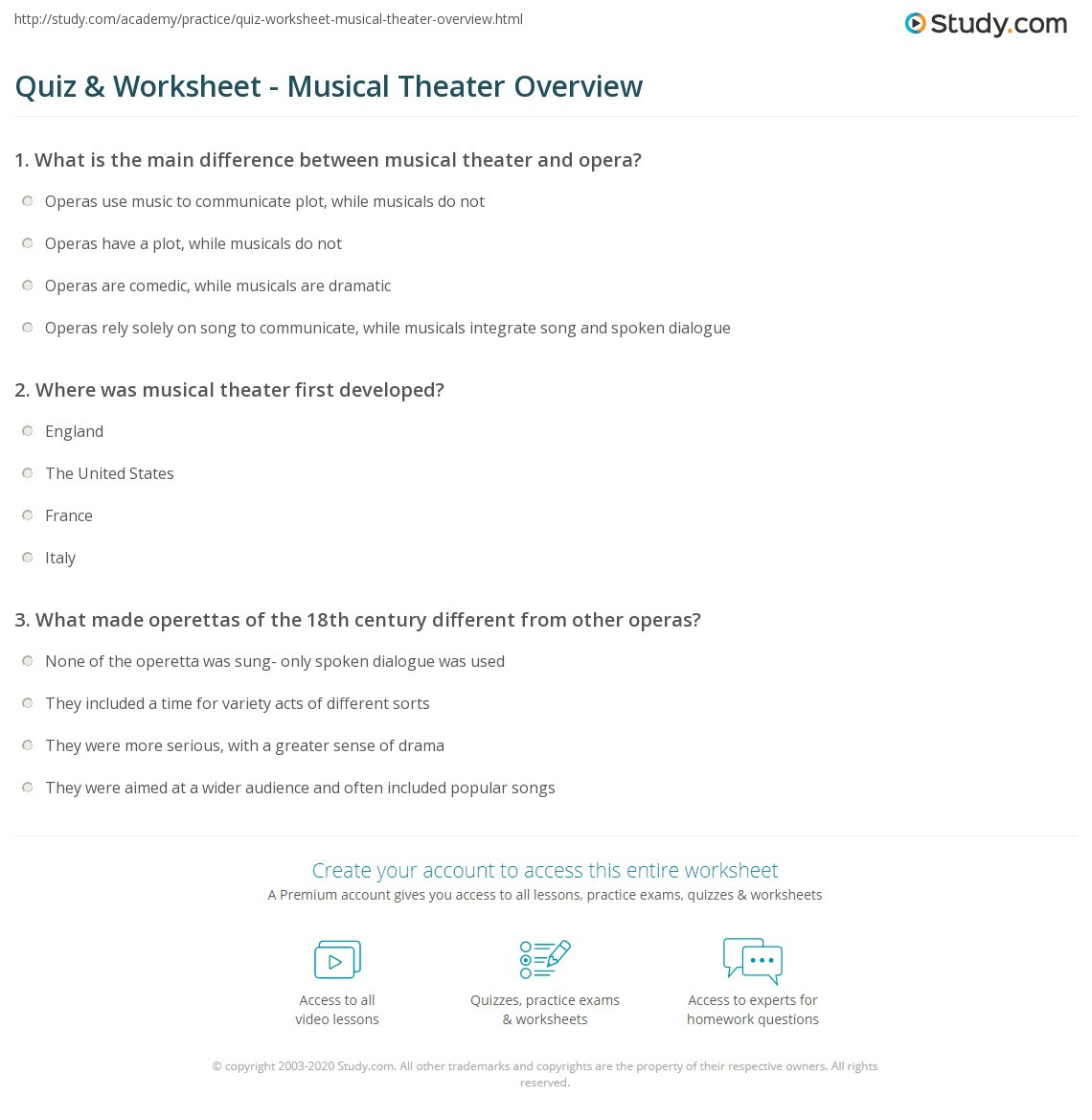 quiz worksheet musical theater overview study