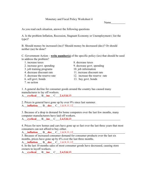 Economic Worksheets for High School Monetary and Fiscal Policy Worksheet 4 Moon Valley High School