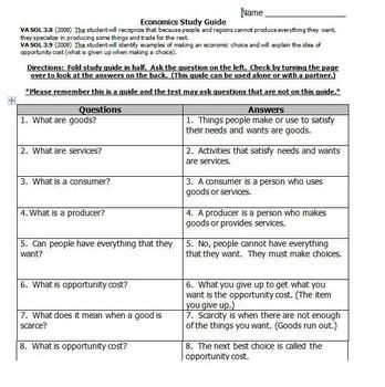 Economics Worksheets for 3rd Grade Economics Study Guide Freebie