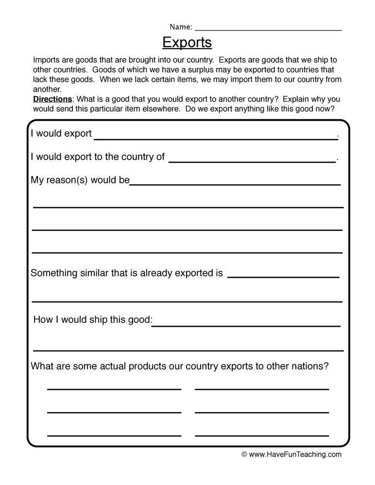 Economics Worksheets for 3rd Grade Exports Worksheet