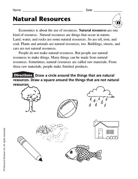 Economics Worksheets for 3rd Grade Natural Resources Worksheet for Kindergarten 3rd Grade