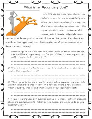 Economics Worksheets for 3rd Grade Opportunity Cost Economics From Kelly Sanchez On