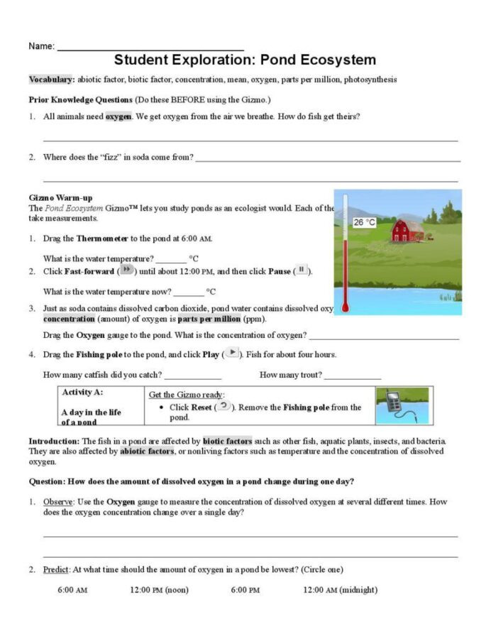 Ecosystem Worksheets 5th Grade Pond Ecosystems Gizmo Explorelearning October and Explore