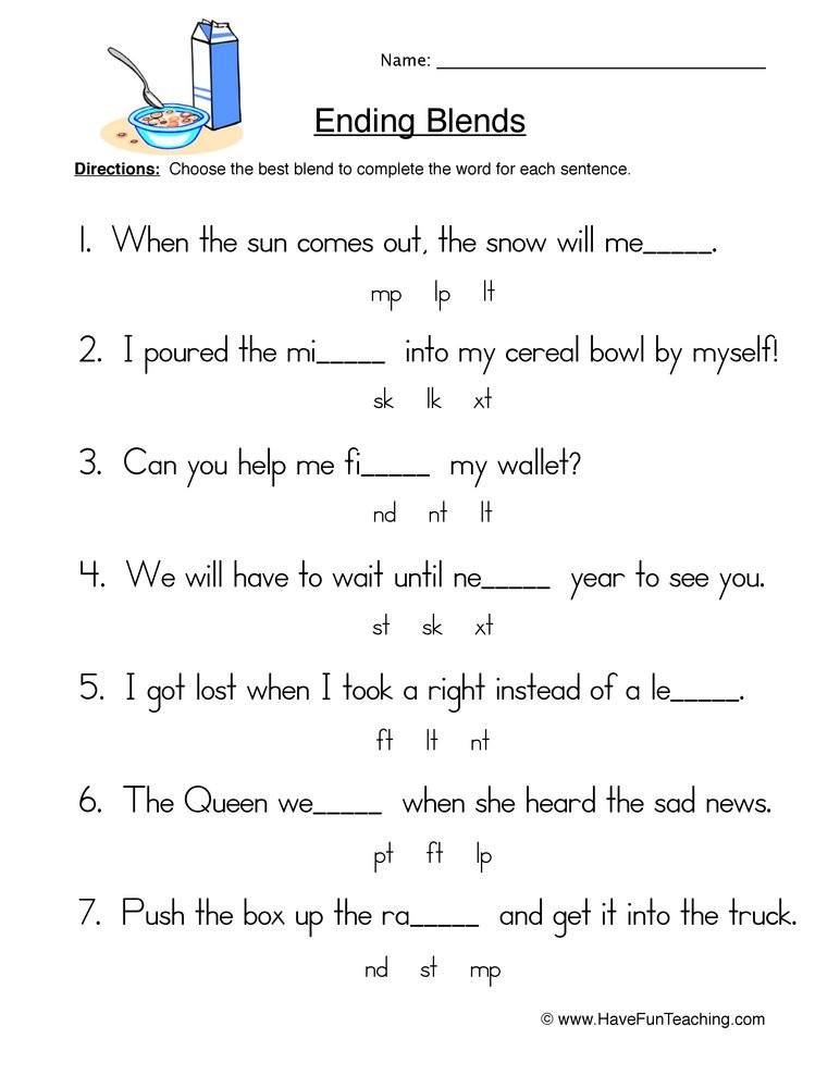 Ending Blends Worksheets First Grade Fill In the Blank Ending Blends Worksheet