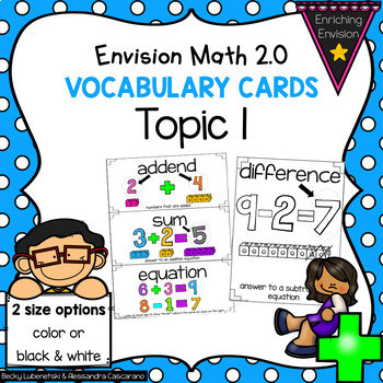Envision Math 2nd Grade Worksheets Envision Math 2 0 topic 1 Vocabulary Cards 2nd Grade