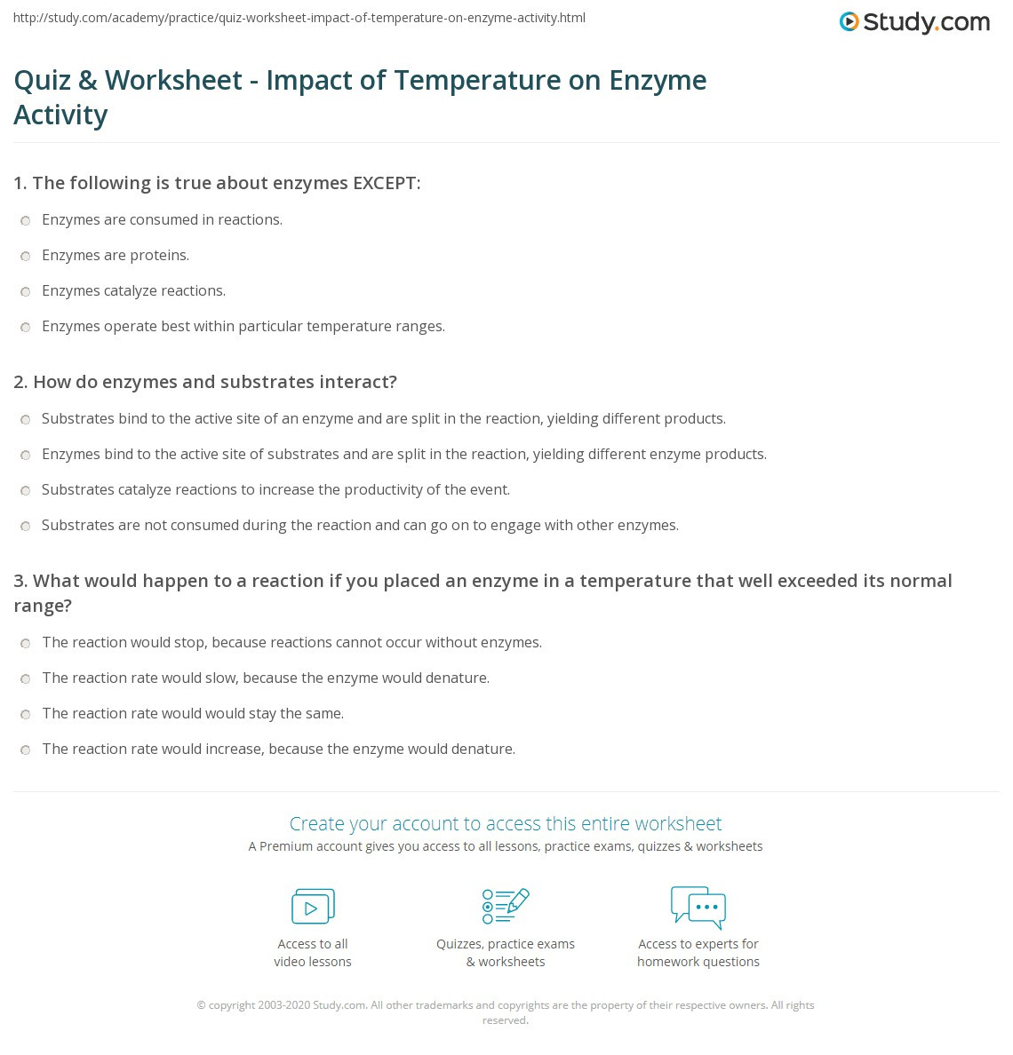 Enzyme Worksheet High School Biology Quiz & Worksheet Impact Of Temperature On Enzyme Activity