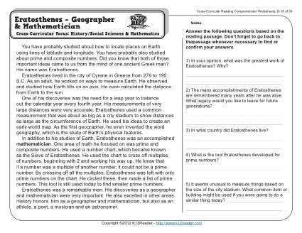 Erosion Worksheets 4th Grade Eratosthenes Geographer and Mathematician